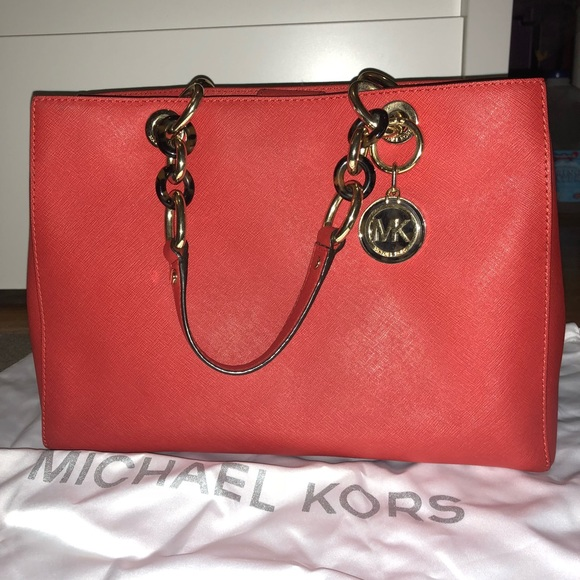 227d11e74489 Michael Kors, Cynthia Medium Saffiano Leather Bag.  M_5a9df260caab44ae0d183d10